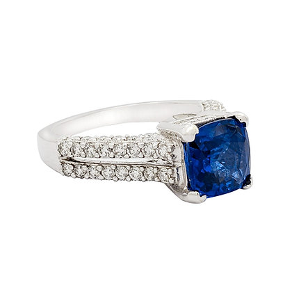 RADIANT CUT SAPPHIRE AND DIAMOND RING