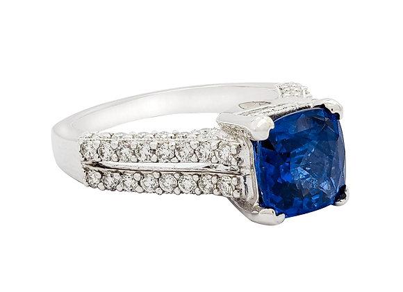 RADIANT CUT SAPPHIRE AND DIAMOND RING