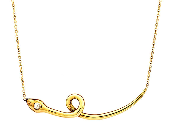 YELLOW GOLD AND DIAMOND SERPENT NECKLACE