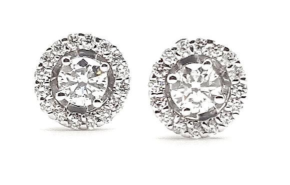 WHITE DIAMOND HALO EARRINGS