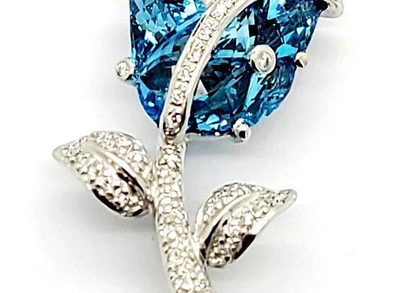 BLUE TOPAZ AND DIAMOND BROOCH
