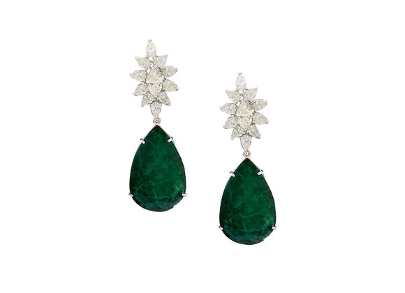 Pear Shape Emerald and Diamond Earrings