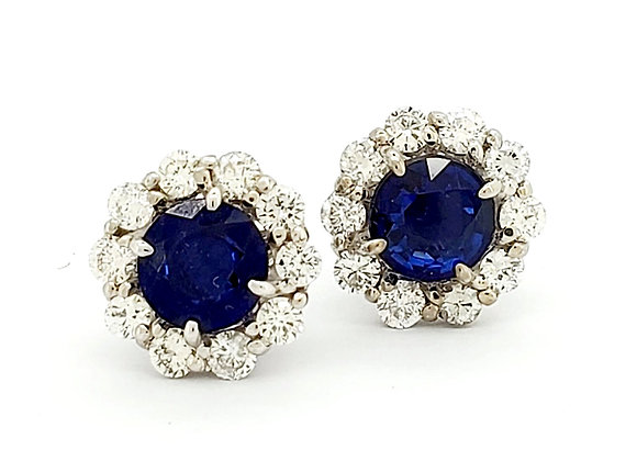 SAPPHIRE AND WHITE DIAMOND EARRINGS