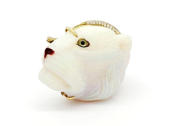 "18 KT YG OPAL""LION HEAD""  DIAMOND PINOPAL: 122.51 CTS37 DIA: .74 CTSAIAY"