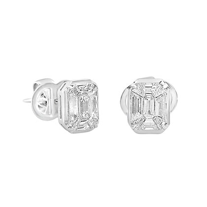 Baguettes Cut Diamond Earrings