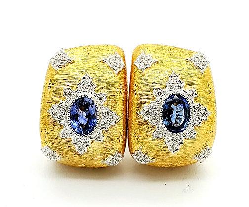 BLUE SAPPHIRE AND DIAMOND EARRINGS