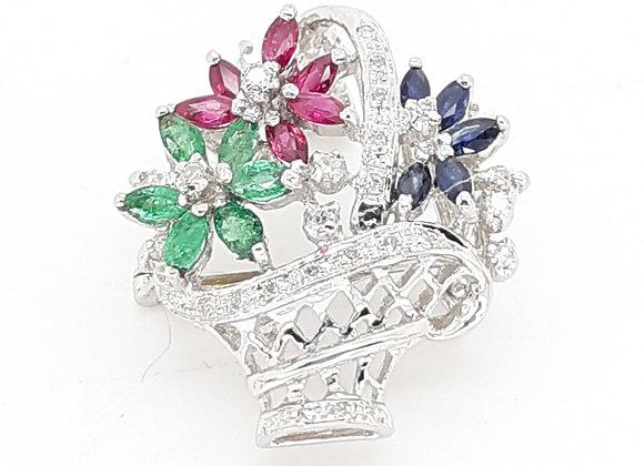 EMERALD RUBY SAPPHIRE AND DIAMOND FLOWER BASKET PIN