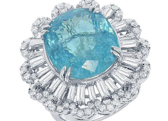 PARAIBA AND DIAMOND RING
