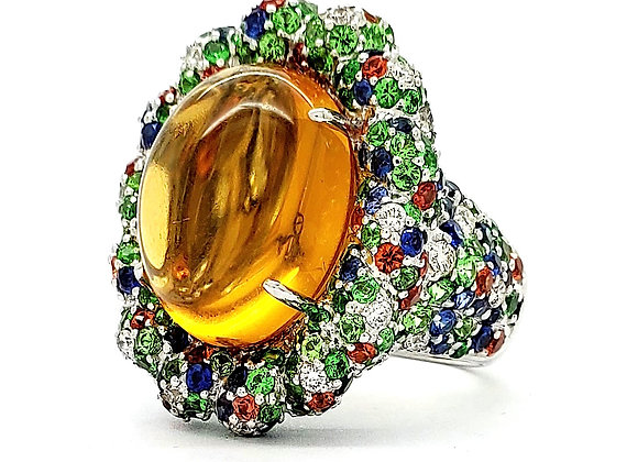 CABOCHON CITRINE AND MULTI SAPPHIRE DIAMOND RING