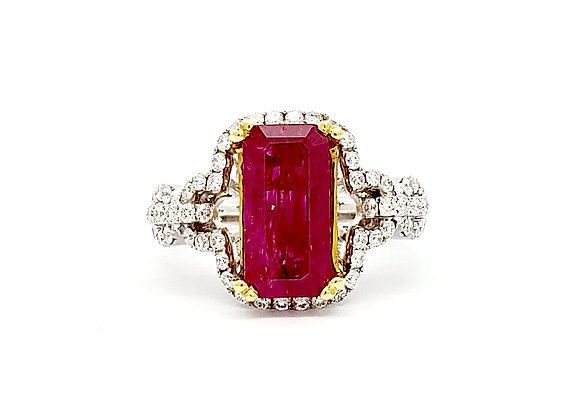 EMERALD CUT RUBY AND DIAMOND RING