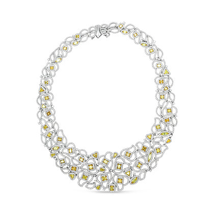 Cushion Cut Fancy Yellow Diamond Necklace