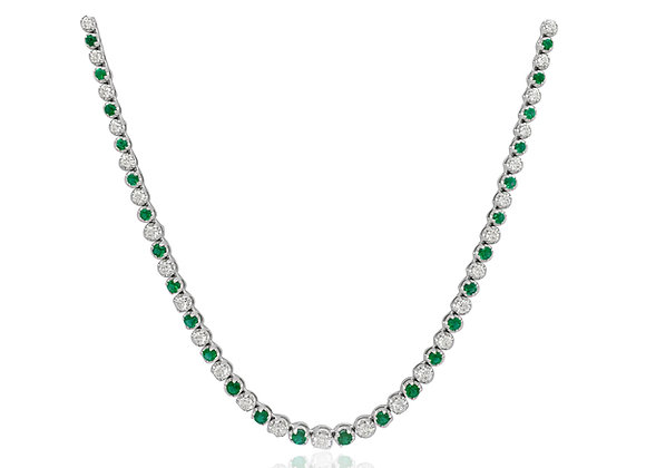 ROUND EMERALD AND DIAMOND NECKLACE