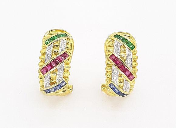 SAPPHIRE EMERALD AND RUBY DIAMOND EARRINGS