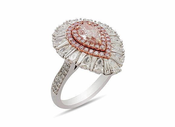 PINK PEAR SHAPE DIAMOND RING
