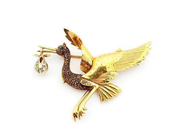 YELLOW GOLD STORK PIN CIRCA 1930