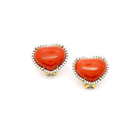 HEART SHAPE CORAL AND DIAMOND EARRINGS