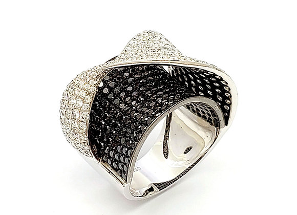 BLACK AND WHITE DIAMOND CROSSOVER RING
