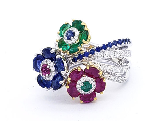 EMERALD, SAPPHIRE AND RUBY FLOWER RING