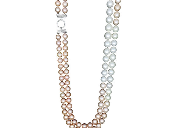 SOUTH SEA AND FRESH WATER PEARL OMBRE OPERA NECKLACE