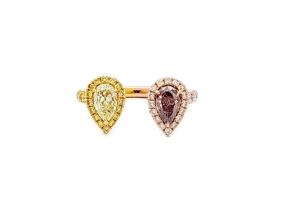 FANCY YELLOW AND PINK DIAMOND RING