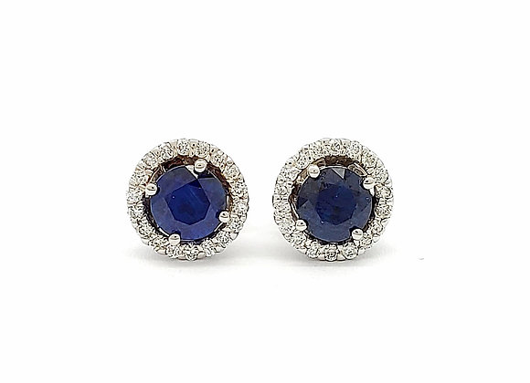 ROUND BLUE SAPPHIRE AND DIAMOND EARRINGS