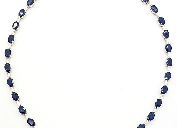OVAL SAPPHIRE AND WHITE DIAMOND NECKLACE