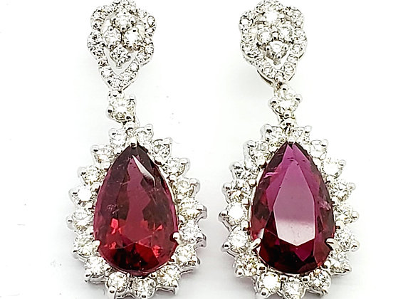 PEAR SHAPE RUBELITE AND DIAMOND EARRINGS