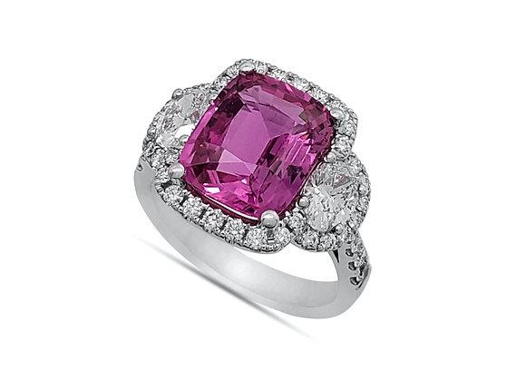 CUSHION CUT PINK SAPPHIRE AND DIAMOND RING