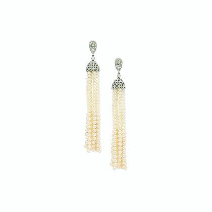 Fresh Water Pearl Tassel and Diamond Earrings