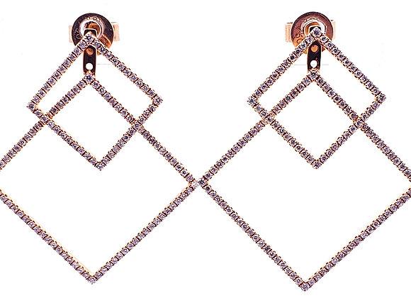 WHITE DIAMOND DOUBLE SQUARE EARRINGS