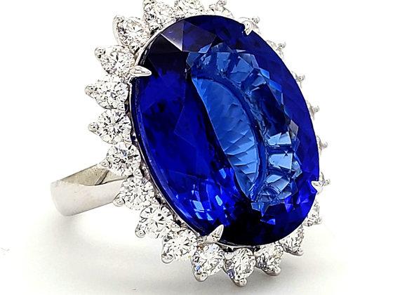 OVAL TANZANITE AND DIAMOND RING
