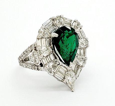 PEAR SHAPE EMERALD AND DIAMOND RING