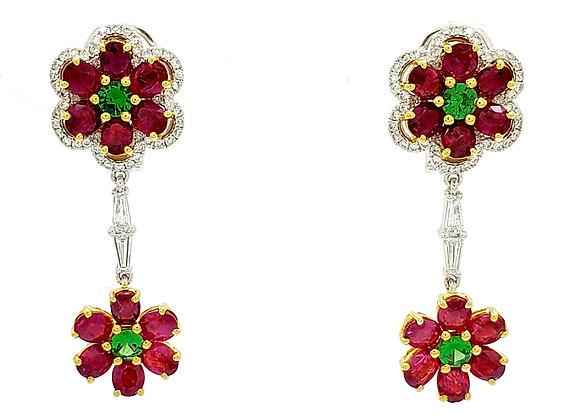 RUBY AND GREEN GARNET DIAMOND EARRINGS