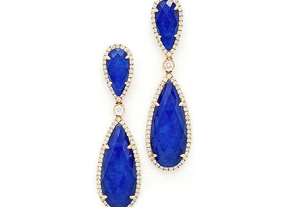 BLUE LAPIZ AND WHITE DIAMOND EARRINGS