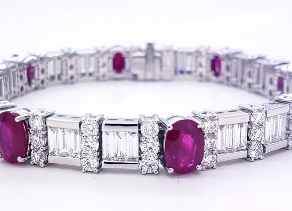 OVAL RUBY AND DIAMOND BRACELET