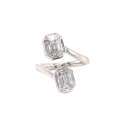 Baguettes Cut By Pass Diamond Ring