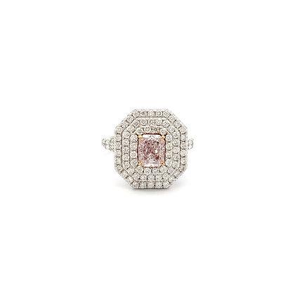 Radiant Cut Very Light Pink Diamond Ring