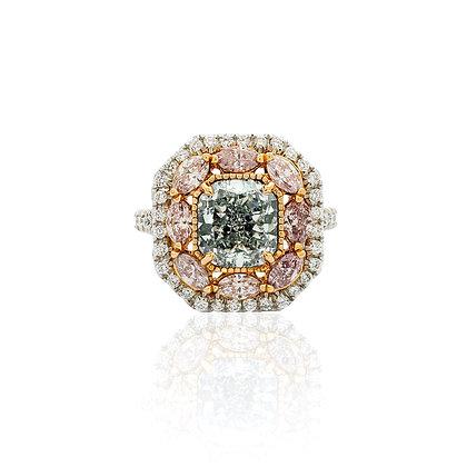 Cushion Cut Fancy Blue And Fancy Pink Diamond Ring