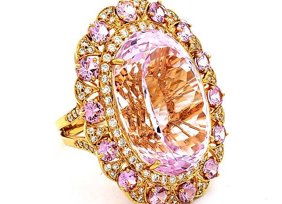 KUNZITE AND PINK SAPPHIRE DIAMOND RING