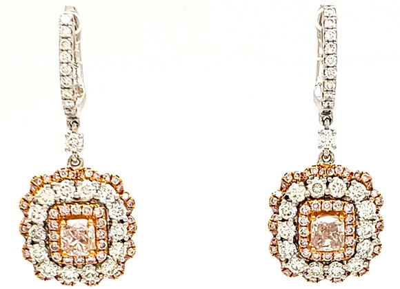 PINK AND WHITE DIAMOND EARRINGS