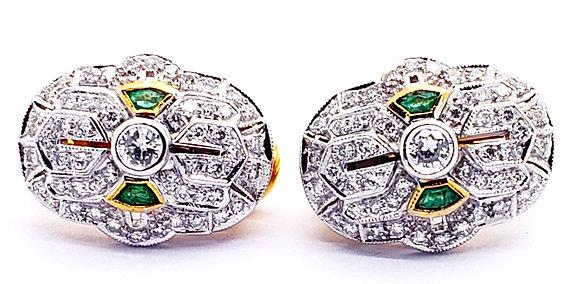 EMERLAD AND DIAMOND EARRINGS