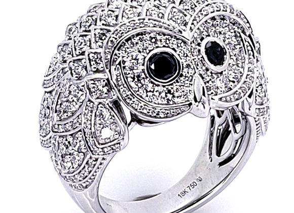 WHITE DIAMOND OWL RING