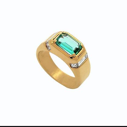 Emerald Cut Emerald Men's Ring