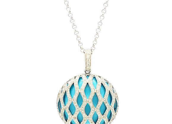 TURQUOISE AND WHITE DIAMOND PENDANT