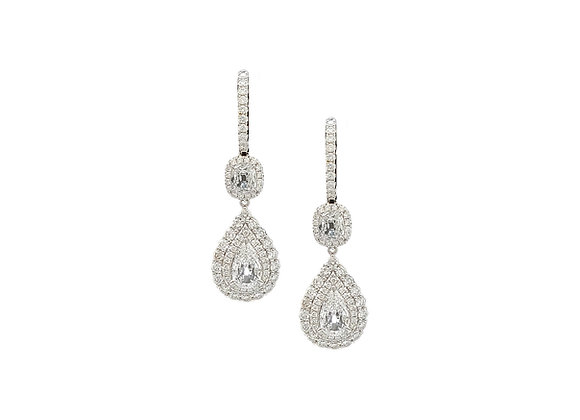 PEAR AND CUSHION CUT DIAMOND EARRINGS
