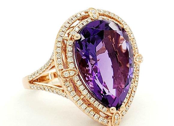 PEAR SHAPE AMETHYST AND DIAMOND RING