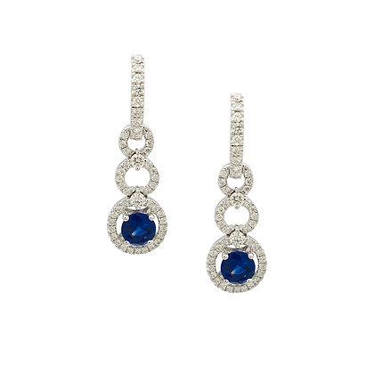 ROUND SAPPHIRE AND DIAMOND EARRINGS