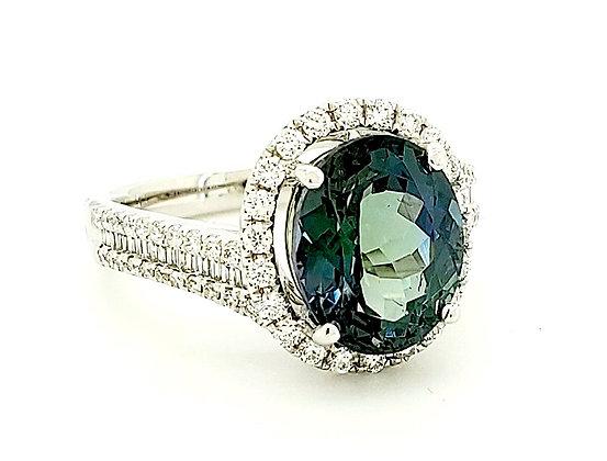 GREEN TANZANITE AND DIAMOND RING