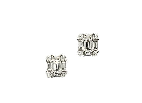 WHITE DIAMOND MOSAIC EARRINGS