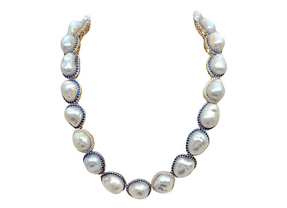 BAROQUE PEARL AND SAPPHIRE NECKLACE